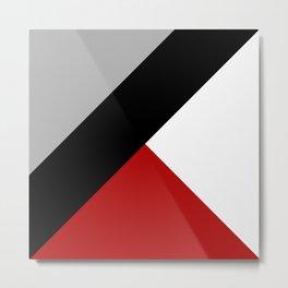 Black diagonal stripe with triangles Metal Print