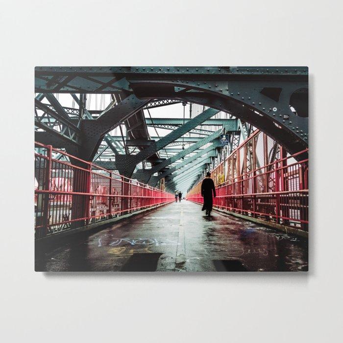 New York City Williamsburg Bridge in the Rain Metal Print