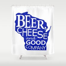 Blue and White Beer, Cheese and Good Company Wisconsin Graphic Shower Curtain