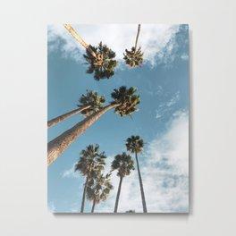 Palm Trees Print Palm Springs California Tropical Print Blue Sky Palm Leaves Beach Summer Vibes Metal Print