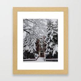 Snow in Portland Framed Art Print