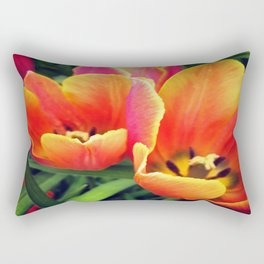 Coral Tulips in Bloom Rectangular Pillow