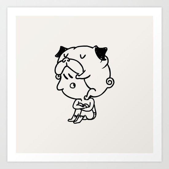 Cuddly Pug Art Print