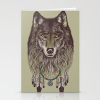 pen Stationery Cards featuring Wind Catcher Wolf by Rachel Caldwell