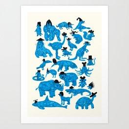 Blue Animals Black Hats Art Print