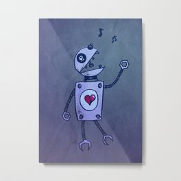 Happy Cartoon Singing Robot Metal Print
