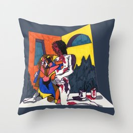 The artist and his artwork Throw Pillow