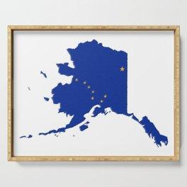 Alaska Map with Alaskan Flag Serving Tray