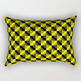 Yellow and Black Smiley Face Check Rectangular Pillow