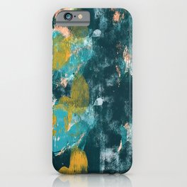 026.2: a vibrant abstract design in teal peach and yellow by Alyssa Hamilton Art iPhone Case