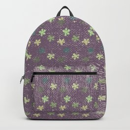 Vintage mauve purple green abstract leaves pattern Backpack