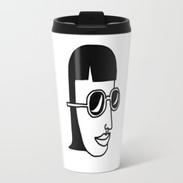 Girl, Simple line, Sunglasses Travel Mug