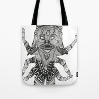 yeti Tote Bags featuring Yeti by Guice Mann