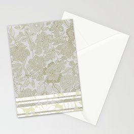 Ornate Floral Taupe Stationery Cards