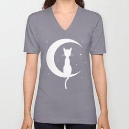 Cat on Moon Silhouette (Darks) Unisex V-Neck