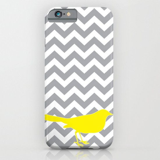 Yellow Bird on Gray Chevron iPhone & iPod Case
