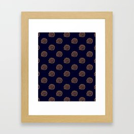 Navy Blue and yellow Swirl sun pattern Framed Art Print
