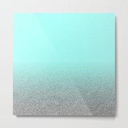 Modern aqua blue faux silver glitter gradient pattern Metal Print