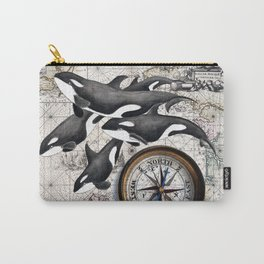 Orca Pod Vintage Map Carry-All Pouch
