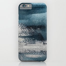 Navy Blue Silver Gray Abstract Painting iPhone Case