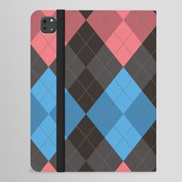 Pink Blue Black Argyle Diamond Plaid iPad Folio Case