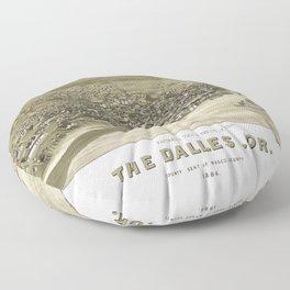 Aerial View of Dalles, Oregon (1884) Floor Pillow