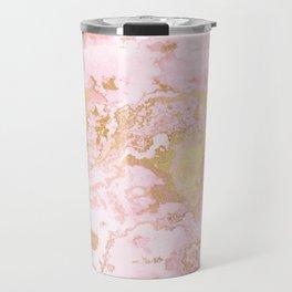 Rose Gold Metal Foil on Pink Marble  -  Summer Girl I Travel Mug