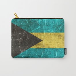 Vintage Aged and Scratched Bahamas Flag Carry-All Pouch