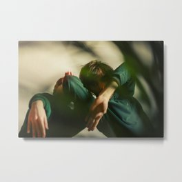 [3] Dancing people, dance, shadows, hands and plants, blurred photography, artistic, forest, yoga Metal Print