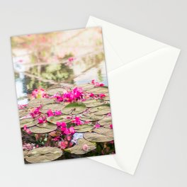 Flowers and water lilies in a pond Stationery Cards