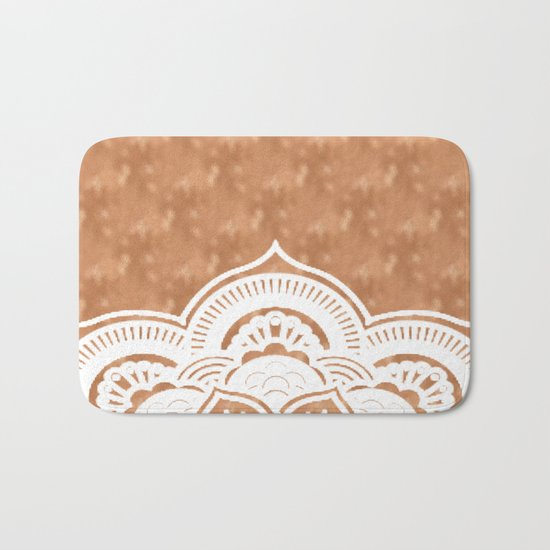 White mandala on copper Bath Mat
