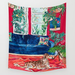 Red Interior with Borzoi Dog and House Plants Painting Wall Tapestry