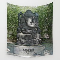 ganesha Wall Tapestries featuring Ganesha by Lucia