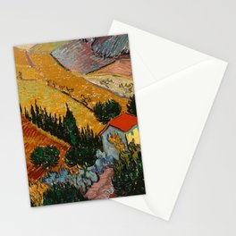 Landscape With House And Ploughman - Van Gogh Stationery Cards