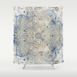 Mandala Flower, Blue and Gold, Floral Prints Shower Curtain