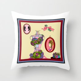 A Garden Wall with Dress Form and Succulents Throw Pillow