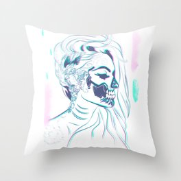 Candy Skull Mermaid Throw Pillow