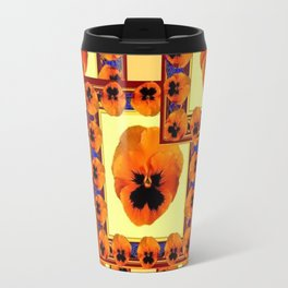 DECO ORANGE PANSIES ON YELLOW COLOR Travel Mug
