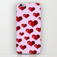hearts iPhone & iPod Skins featuring Hearts by Marjolein