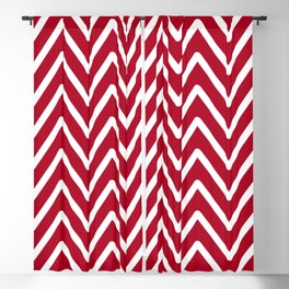 Chevron Wave Red Dark Raspberry Blackout Curtain