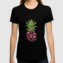 cute and lovely pink flamingo pineapple love gift T-shirt