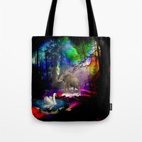 decal Tote Bags featuring Fantasy forest by haroulita