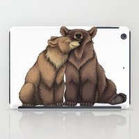 cuddle iPad Cases featuring Bear Cuddle by Lyndsey Green Illustration
