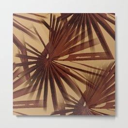 Burgundy and Coffee Tropical Beach Palm Vector Metal Print