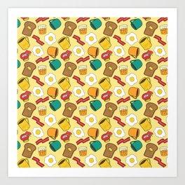 Doodle breakfast: toasts, jam, juice, coffee, bacon, eggs on a yellow background Art Print