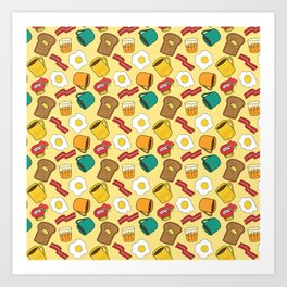 Doodle breakfast: toasts, jam, juice, coffee, bacon, eggs on a yellow background Art Print