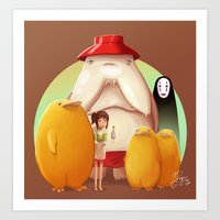 studio ghibli Art Prints featuring Studio Ghibli - Radish Spirit by Laurence Andrew Page Illustrator