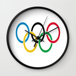 Flag of olympics games-olympic,olympic game,sport,coubertin, circles,medal,fun,international Wall Clock
