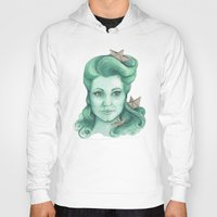 ships Hoodies featuring Paper ships II by Pendientera