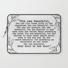 """""""She was beautiful"""" quote from F. Scott Fitzgerald Laptop Sleeve"""
